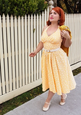 Miss Candyfloss Yellow Daisy Checked Swing Dress 102 89 20611 20170530 0