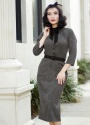 Miss Candyfloss Black and Grey Bow Pencil Dress 100 15 22130 20170922 mi