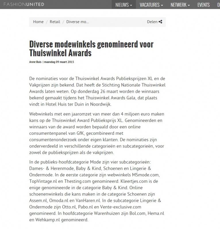 maart 2015 Thuiswinkel Awards Fashion United