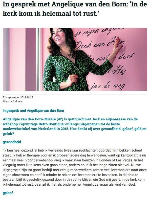 September 2015   Angelique   Nederlands Dagblad Interview 1