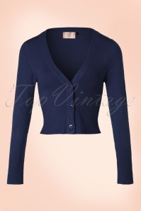 Banned Retro 50s Lets Go Dancing Cardigan in Night Blue