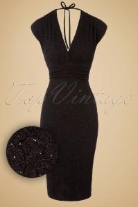 Vintage Chic Glitter Black Wrap Dress 100 10 19615 20161111 0002W1