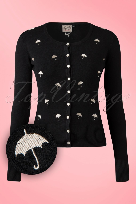 Retro Vintage Sweaters 60s Lolita Umbrella Cardigan in Black £39.54 AT vintagedancer.com