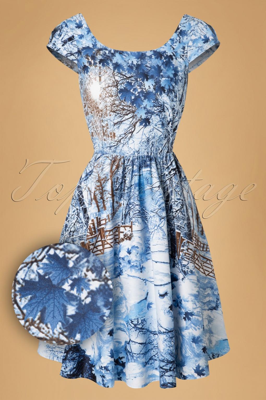 8ad0e6603a5b 50s Winter Scene Swing Dress in Ice Blue