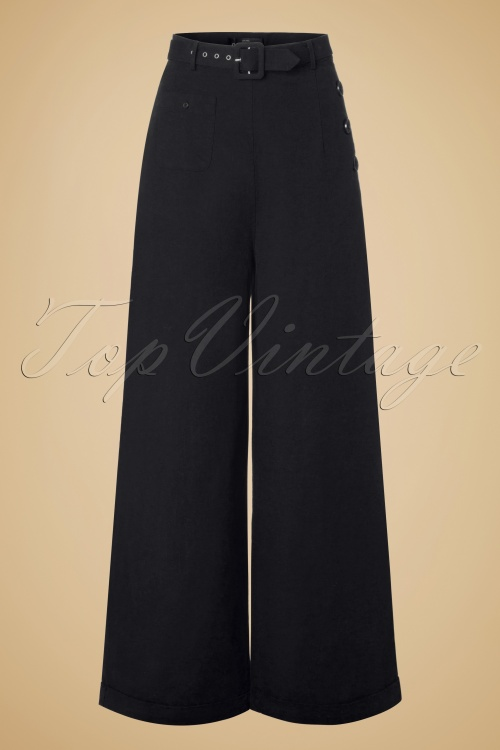Collectif Clothing Gertrude Plain Trousers Black 131 10 20011 20161114 0002W
