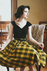 Retrolicious Madison Yellow Black Checked Swing Skirt 122 89 19500 20161114 1