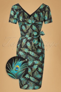 TopVintage Exclusive ~ 60s Rita Peacock Dress in Black