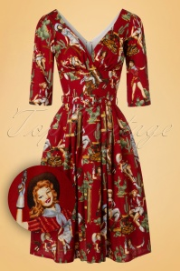 TopVintage Exclusive ~ 50s Livia Cowgirl Frock Swing Dress in Red