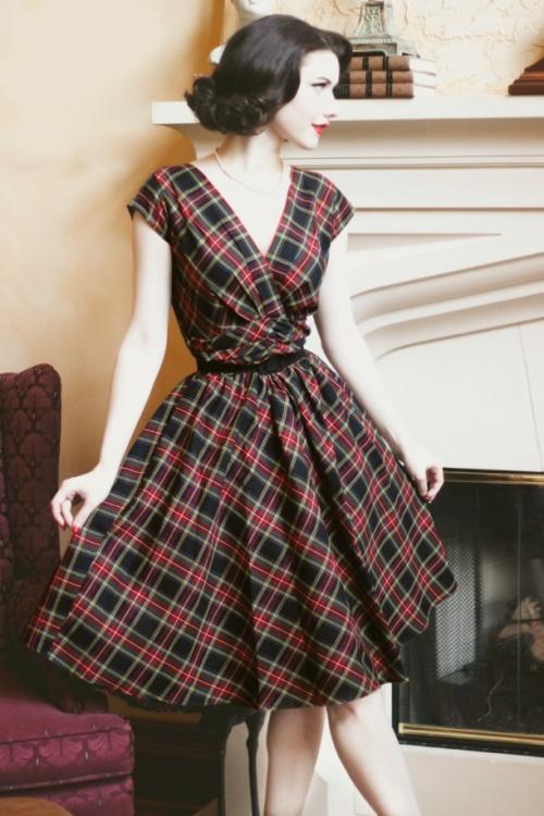 50s Eleanor Swing Dress in Tartan