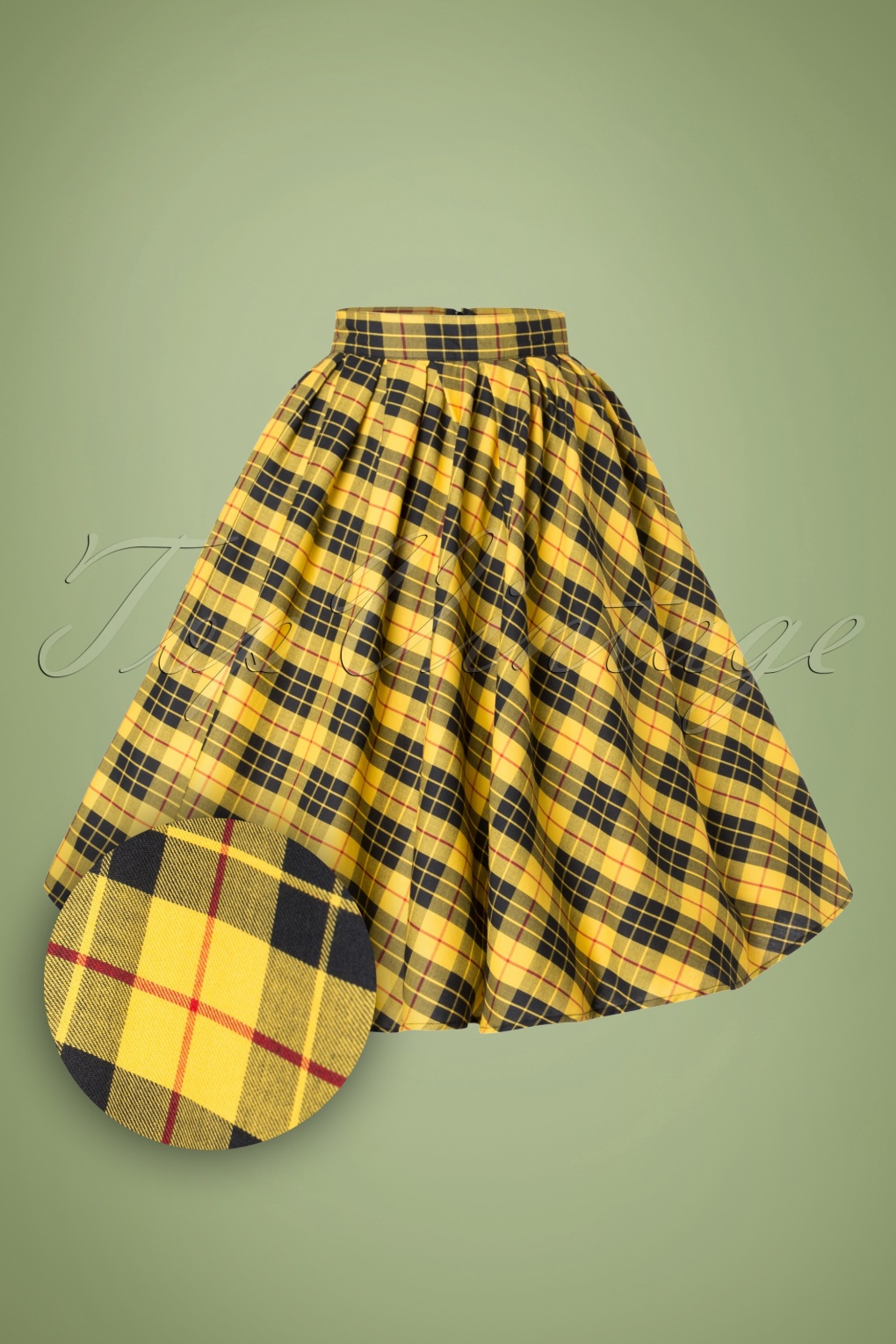 1940s Style Skirts- High Waist Vintage Skirts 40s Madison Swing Skirt in Yellow Tartan £56.76 AT vintagedancer.com