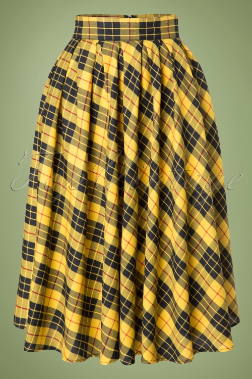 509282c62 Retrolicious Madison Yellow Black Checked Swing Skirt 122 89 19500 20161114  0020W