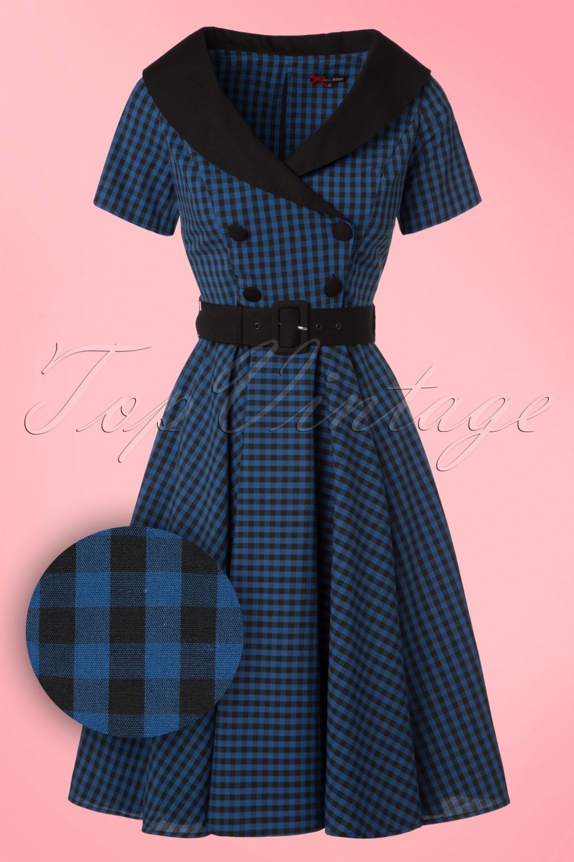 1950s Day Dresses 50s Bridget Gingham Swing Dress in Black and Navy £68.20 AT vintagedancer.com
