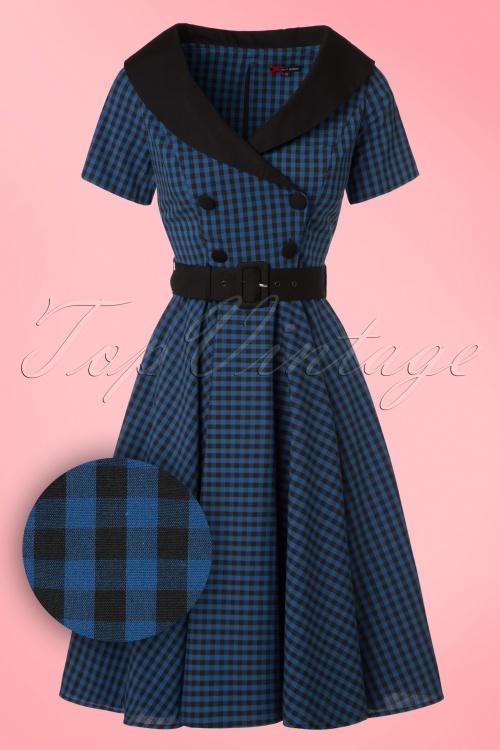 Bunny Bridget 50s Black Navy Checkered Dress 102 39 19563 20161103 0003W1
