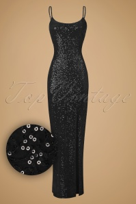 50s Dianne Sequins Maxi Dress in Black Velvet