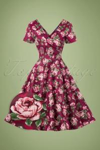 50s Maria Bloom Roses Swing Dress in Beet Red
