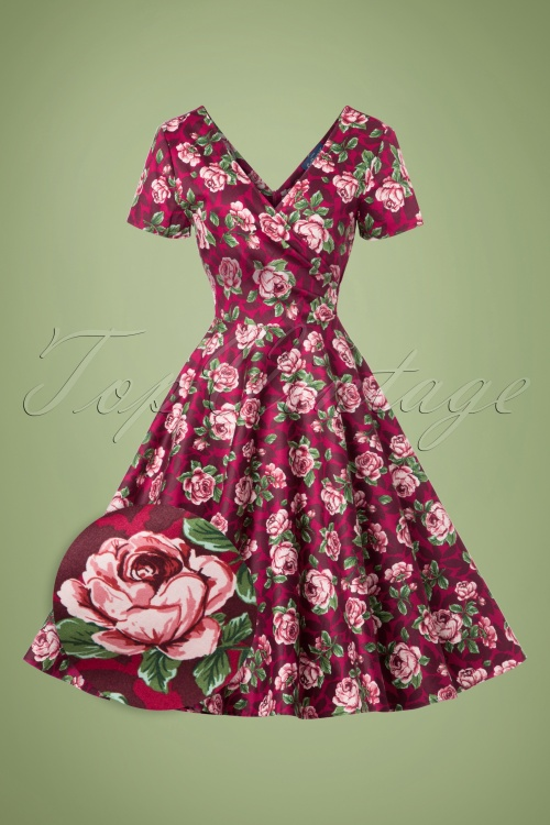 Collectif Clothing Maria Bloom Roses Swing Dress 102 27 20010 20161019 0020wv