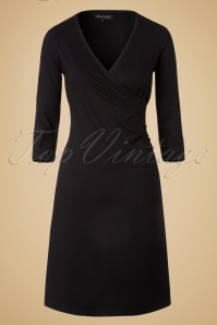50s Christine 3/4 Sleeves Cross Dress in Black