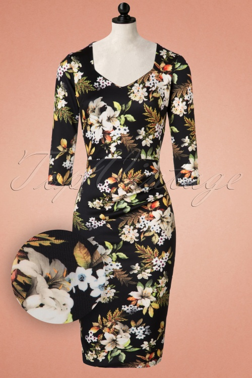 Vintage Chic Sleeve Pleated Floral Pencil Dress  100 14 19622 20160912 0002pop1
