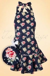 50s Emma Floral Apron in Navy