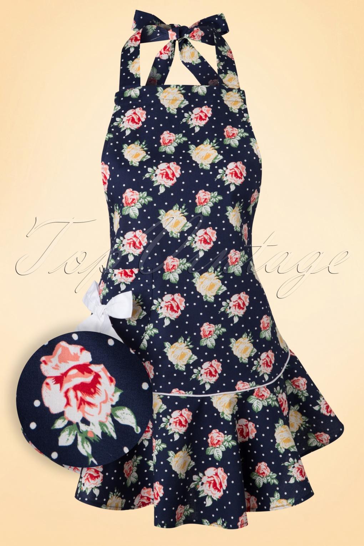 Old Fashioned Aprons & Patterns 50s Emma Floral Apron in Navy £16.92 AT vintagedancer.com