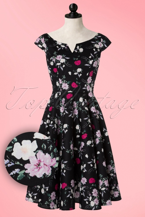 Bunny Belinda Black Floral Swing Dress 102 14 19591 20160902 0016W1V