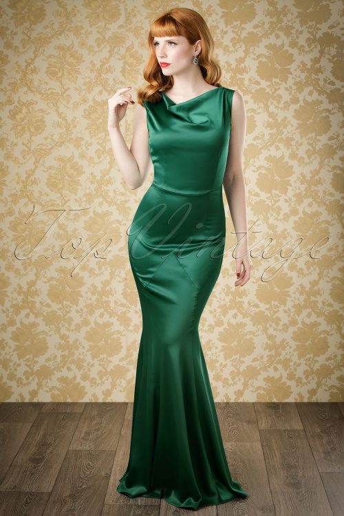 Collectif Clothing Ingrid Fishtail Dress in Green 18893 20160601 model01bewerktw