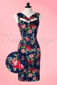 Hearts and Roses Blue Floral Pencil Dress 100 39 17128 20151124 0005pop2