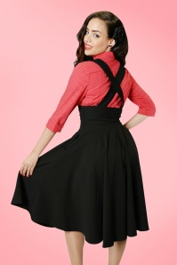 50s Mary Plain Swing Skirt in Black