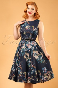 50s Hepburn Lily Swing Dress in Navy