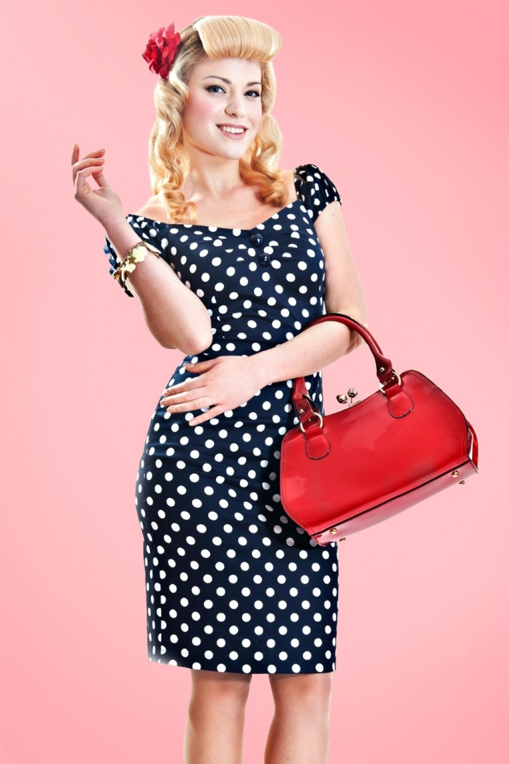 50s Dolores dress navy white polka dot