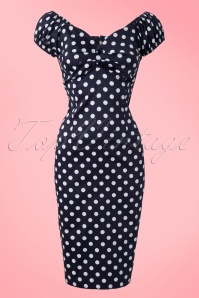 Collectif 50s Dolores Polkadot Pencil Dress Blue 11871 1