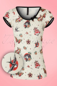 50s Leona Tattoo Top in Cream