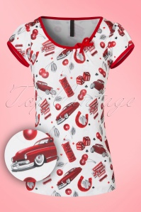 50s Leona Cherry Cars Top in White and Red