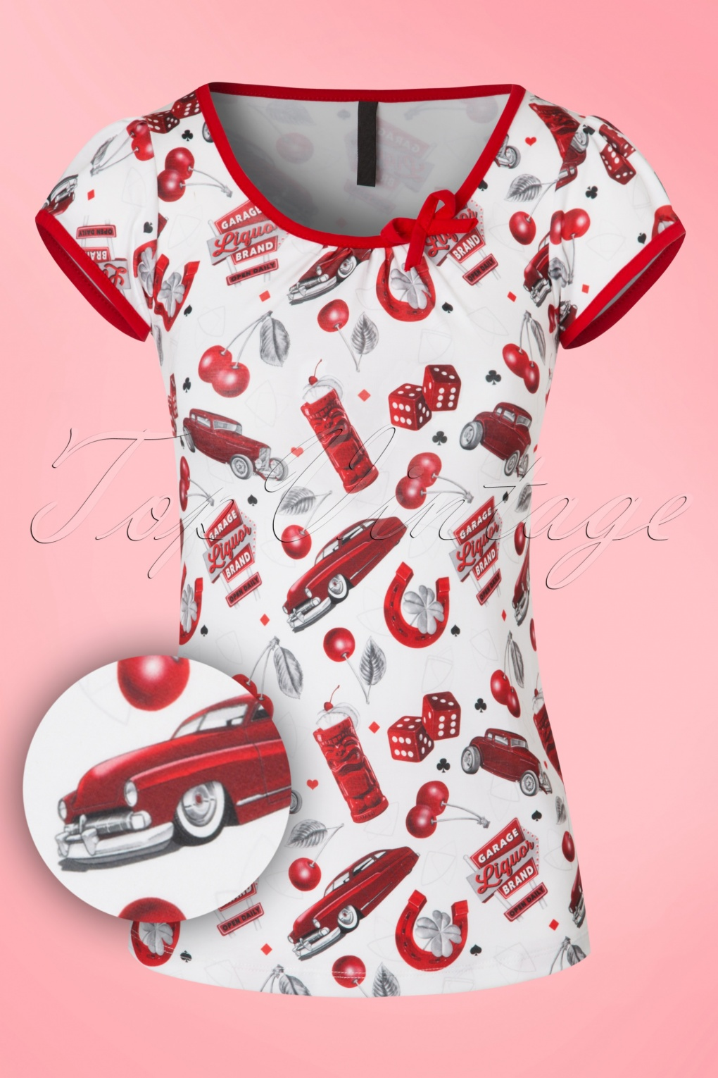 1950s Rockabilly Dresses   Rockabilly Clothing 50s Leona Cherry Cars Top in White and Red £26.34 AT vintagedancer.com