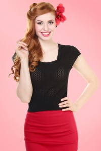 50s Pia Square Neck Knitted Top in Black
