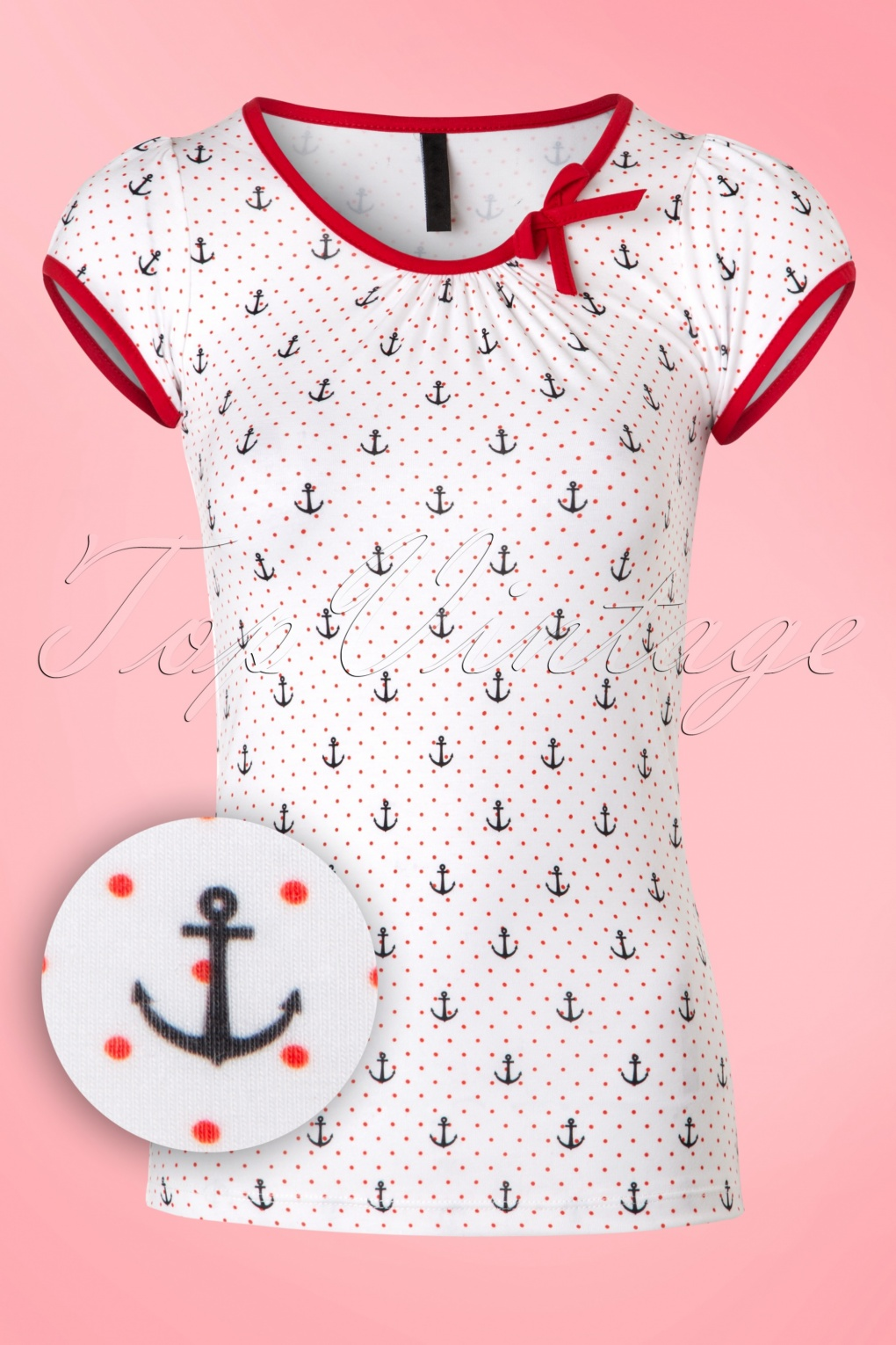 Vintage & Retro Shirts, Halter Tops, Blouses 50s Leona Anchor Top in White and Red £27.05 AT vintagedancer.com