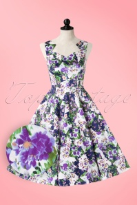 50s Ella Floral Swing Dress in White and Purple