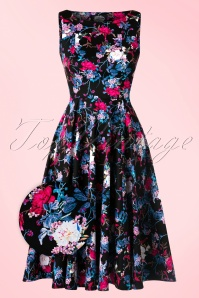 Hearts & Roses  Black Swing Dress Pink Flowers 102 14 17111 03182016 006WV