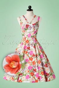 50s Adelise Floral Swing Dress in White
