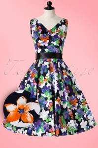 Vintage Tropical Flowers Swing Dress Hearts & Roses 102 14 17785 20160203 006pop1