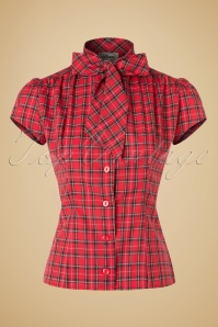 40s Estelle Tartan Blouse in Red