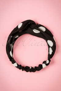 50s Calinda Twisted Polkadot Headband in Black