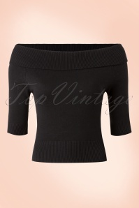 50s Bridgette Knitted Top in Black