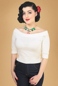 50s Bridgette Knitted Top in Ivory