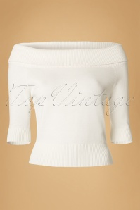 Collectif Clothing Bridgette Knitted Top Ivory White 14777 20141213 0004W