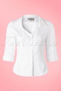 Collectif Clothing Mona Plain White Shirt 16192 20150624 0009W