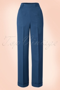 Party On Classy Trousers Années 1940 en Navy