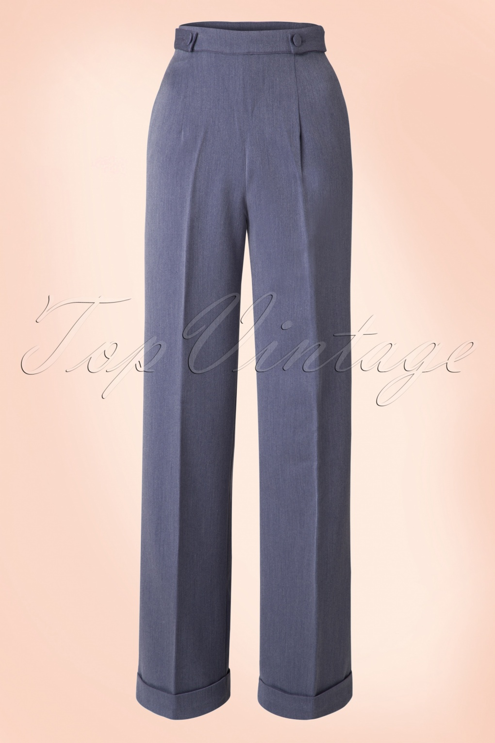 1940s Style Pants & Overalls- Wide Leg, High Waist 40s Party On Classy Trousers in Denim £16.93 AT vintagedancer.com