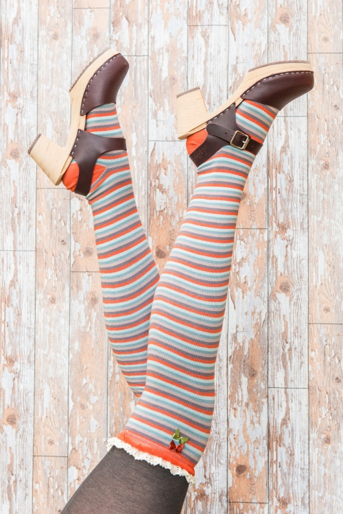 Powder Long Stipe Tangerine Mix Socks 179 28 20536 11142016 model01