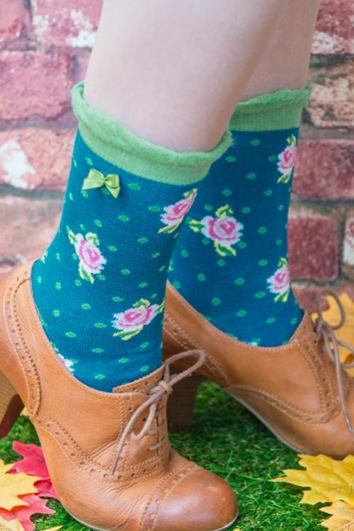 Powder Ankle Rose Teal Socks 179 39 20538 11142016 002model01a